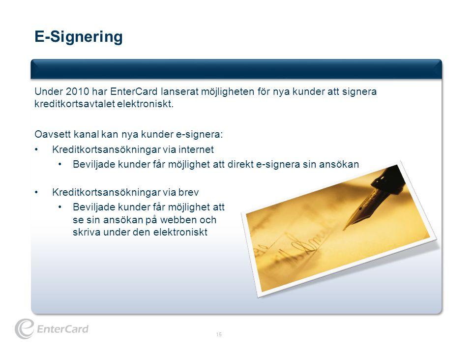 E-Signering Under 2010 har EnterCard lanserat möjligheten för nya kunder att signera kreditkortsavtalet elektroniskt.