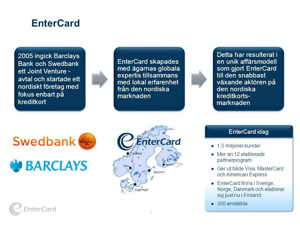 EnterCard 2005 ingick Barclays Bank och Swedbank ett Joint Venture - avtal och startade ett nordiskt företag med fokus enbart på kreditkort.