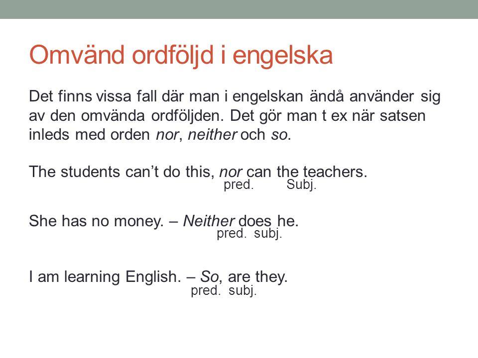 Omvänd ordföljd i engelska