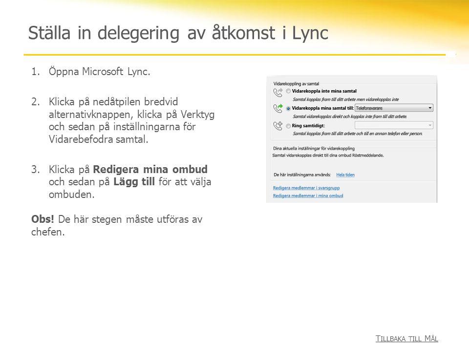 Ställa in delegering av åtkomst i Lync