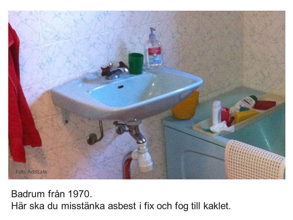 Foto: AddSafe Badrum från 1970. Här ska du misstänka asbest i fix och fog till kaklet.