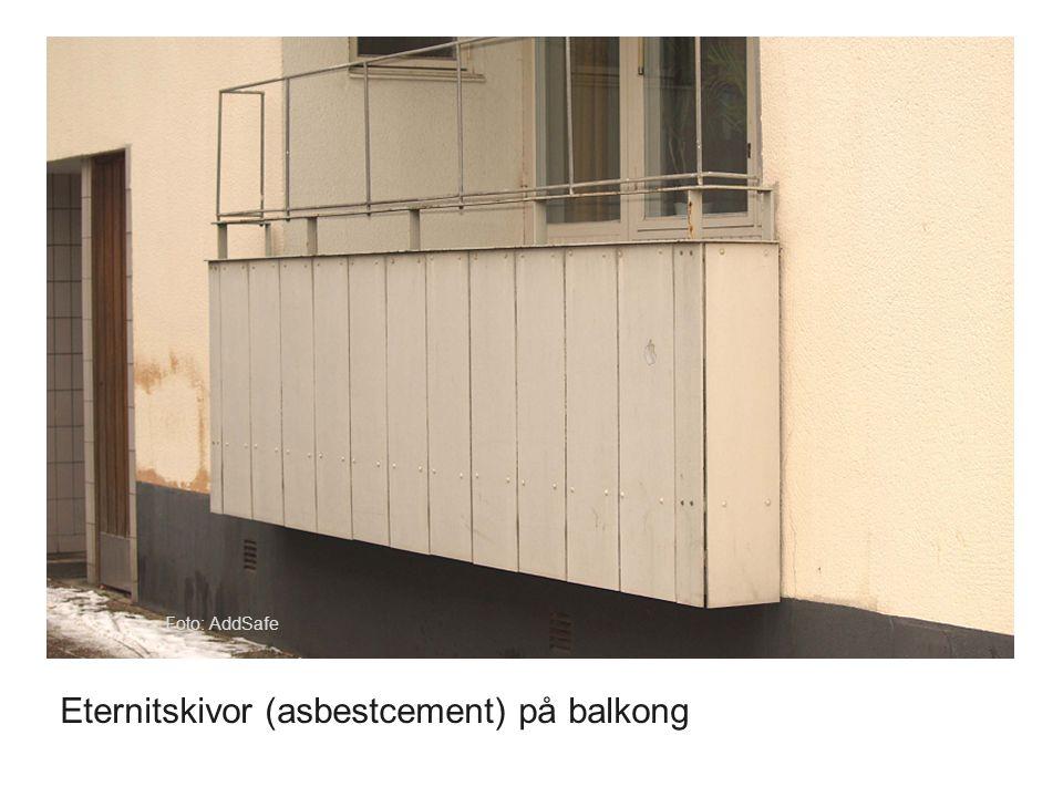 Eternitskivor (asbestcement) på balkong