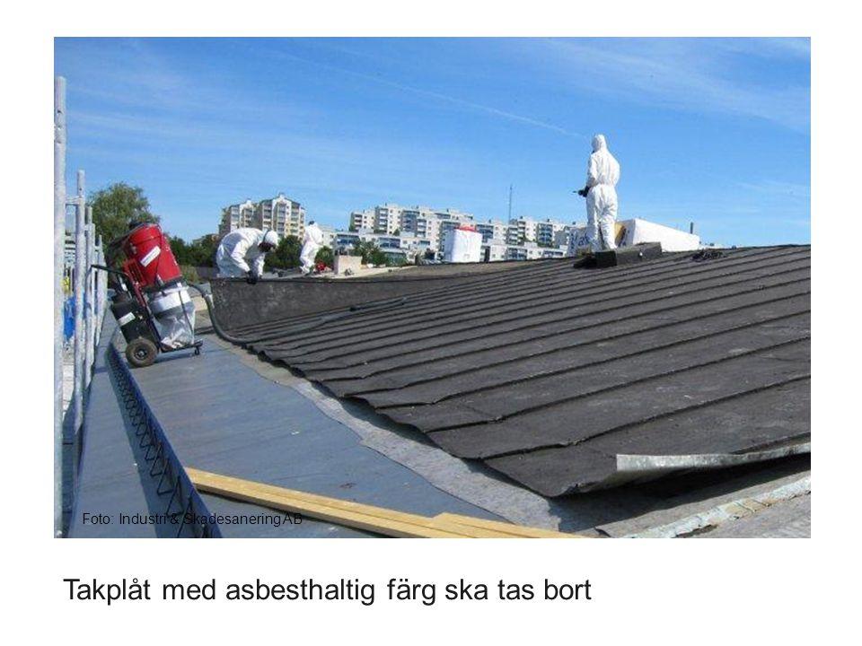 Takplåt med asbesthaltig färg ska tas bort