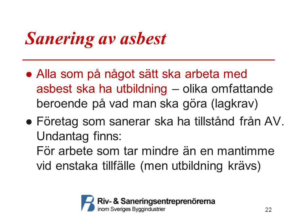 Sanering av asbest Alla som på något sätt ska arbeta med asbest ska ha utbildning – olika omfattande beroende på vad man ska göra (lagkrav)