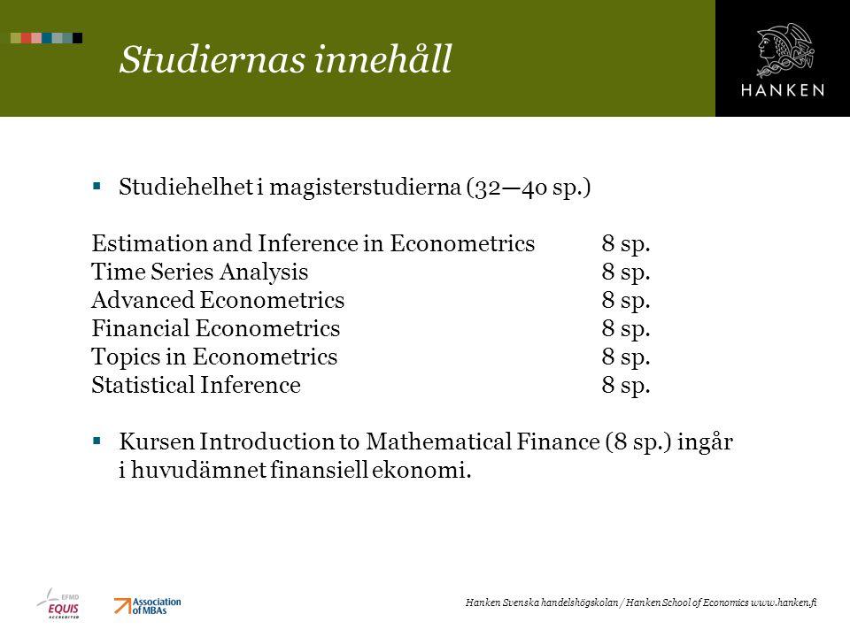 Studiernas innehåll Studiehelhet i magisterstudierna (32—4o sp.)