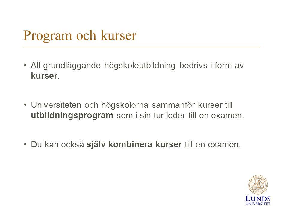 Program och kurser All grundläggande högskoleutbildning bedrivs i form av kurser.