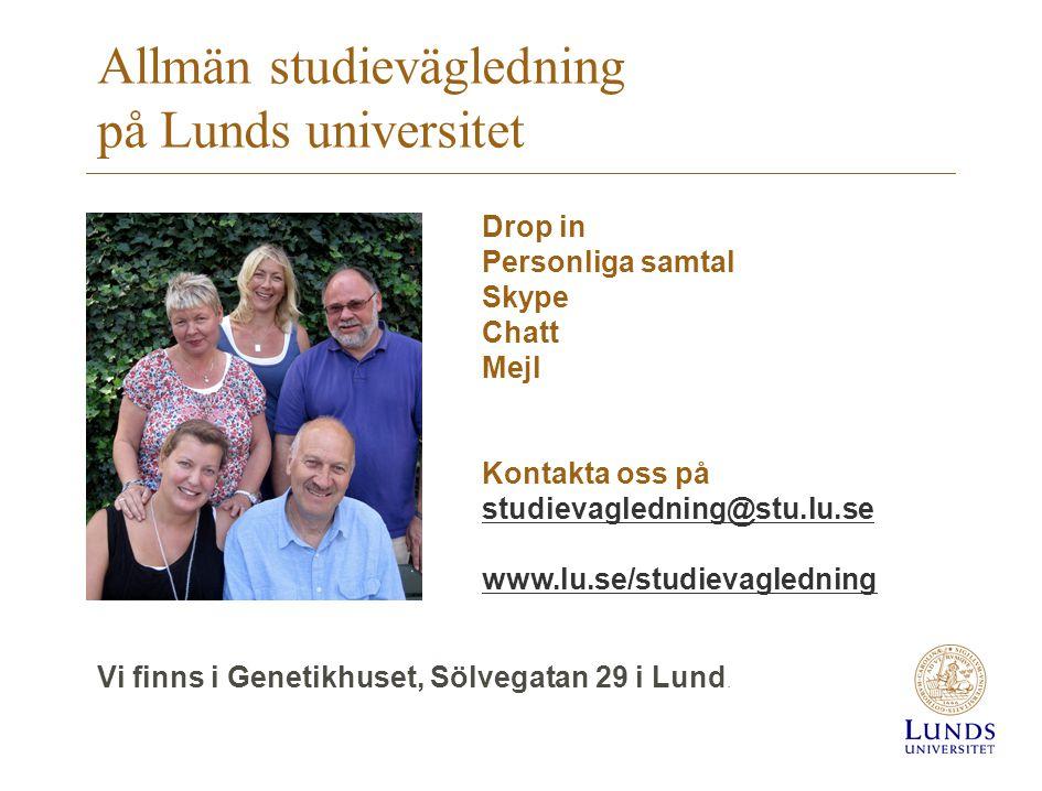 Allmän studievägledning på Lunds universitet