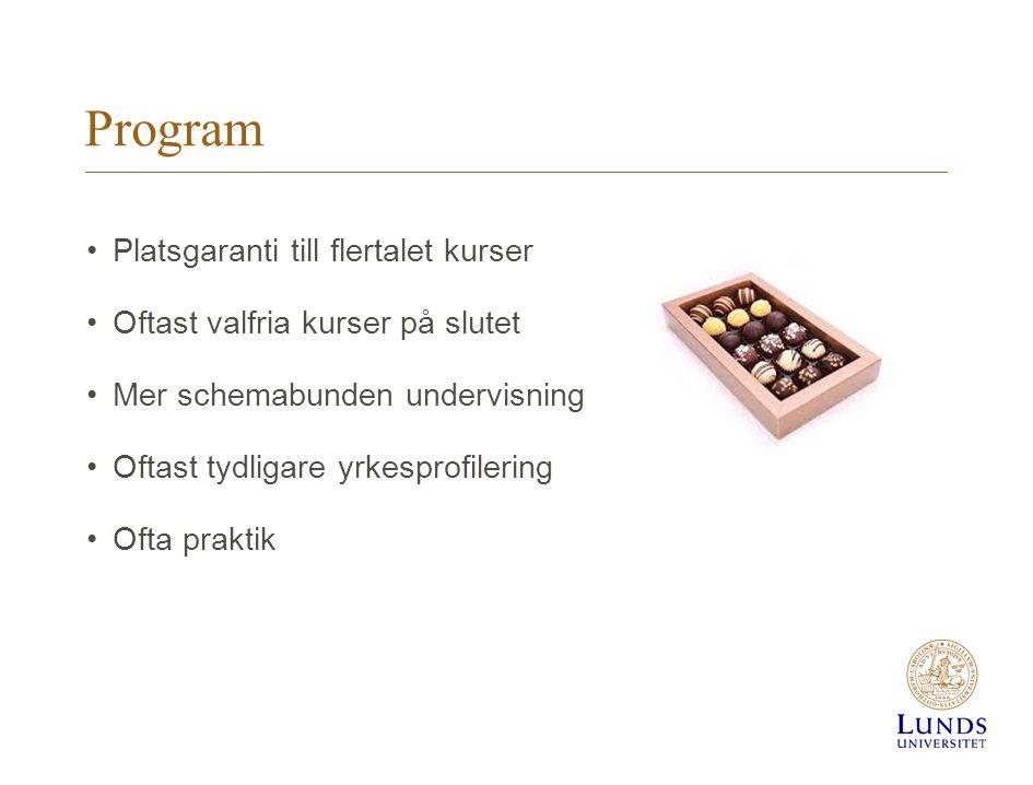 Program Platsgaranti till flertalet kurser