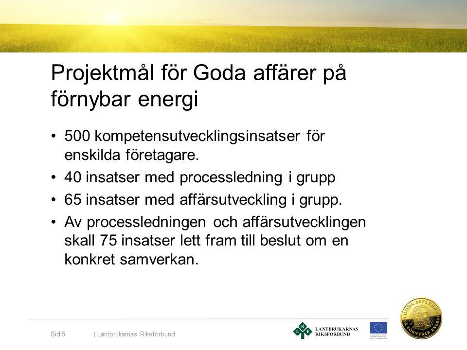 Projektmål för Goda affärer på förnybar energi