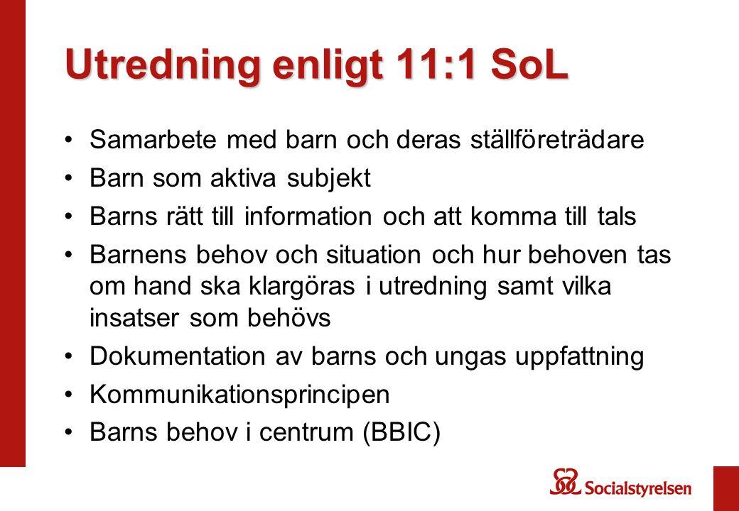 Utredning enligt 11:1 SoL Samarbete med barn och deras ställföreträdare. Barn som aktiva subjekt.
