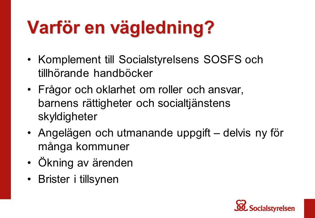 Varför en vägledning Komplement till Socialstyrelsens SOSFS och tillhörande handböcker.