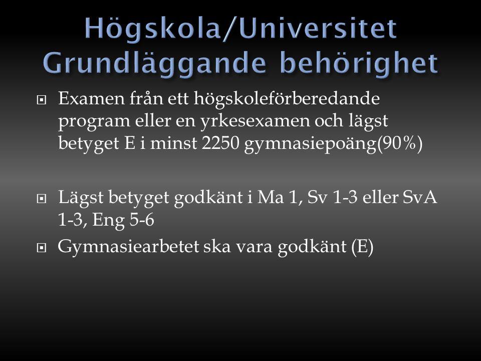 Högskola/Universitet Grundläggande behörighet