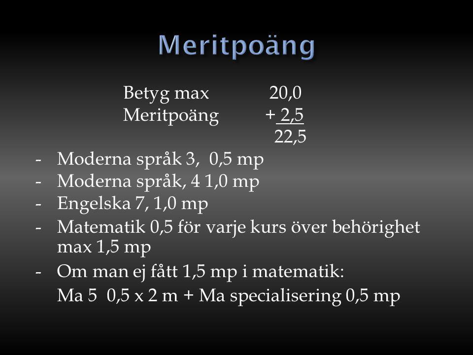 Meritpoäng Betyg max 20,0 Meritpoäng + 2,5 22,5