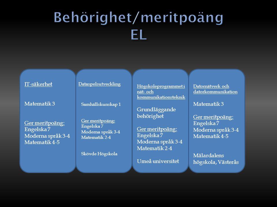 Behörighet/meritpoäng EL
