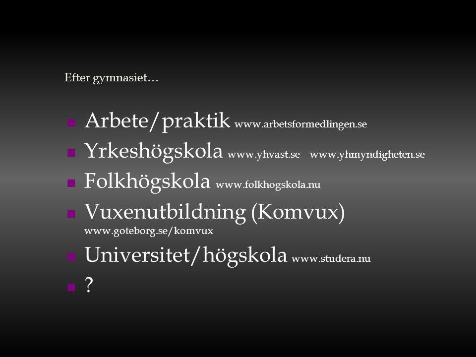 Arbete/praktik www.arbetsformedlingen.se