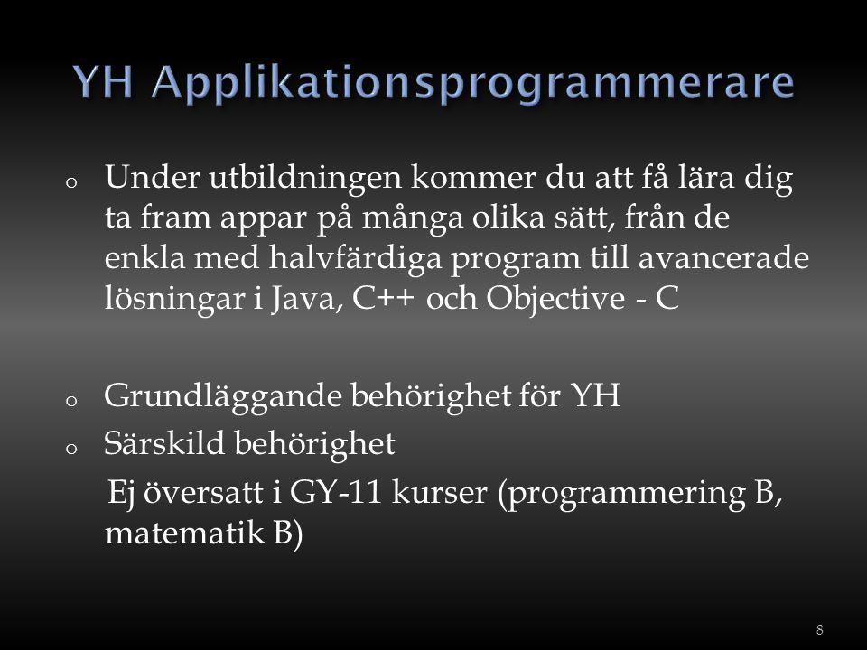 YH Applikationsprogrammerare