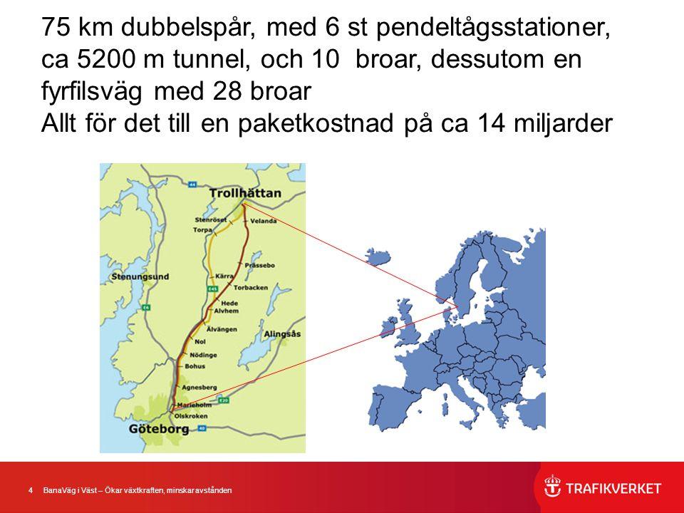 75 km dubbelspår, med 6 st pendeltågsstationer, ca 5200 m tunnel, och 10 broar, dessutom en fyrfilsväg med 28 broar Allt för det till en paketkostnad på ca 14 miljarder