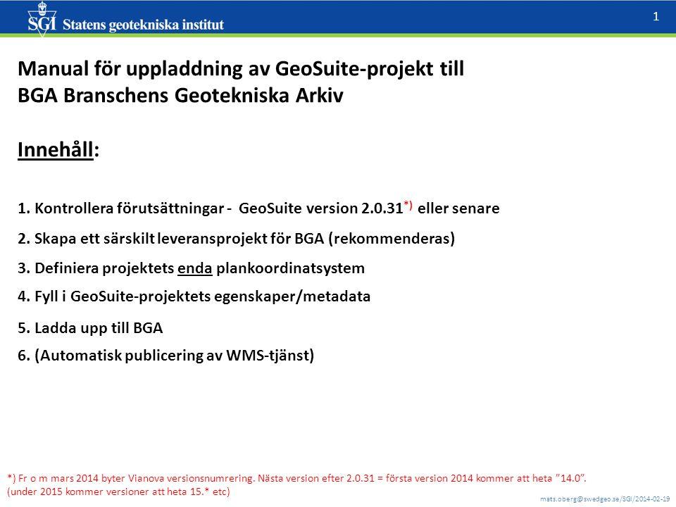 Manual för uppladdning av GeoSuite-projekt till