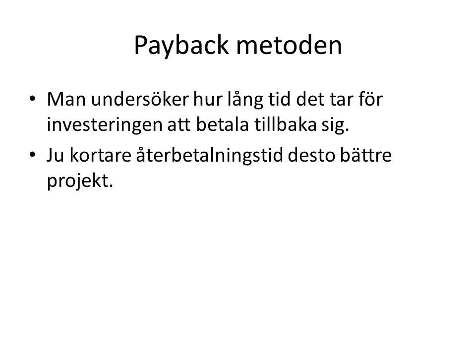 Payback metoden Man undersöker hur lång tid det tar för investeringen att betala tillbaka sig.