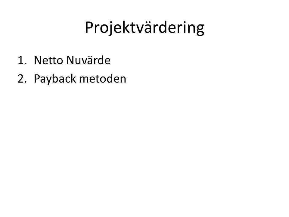 Projektvärdering Netto Nuvärde Payback metoden