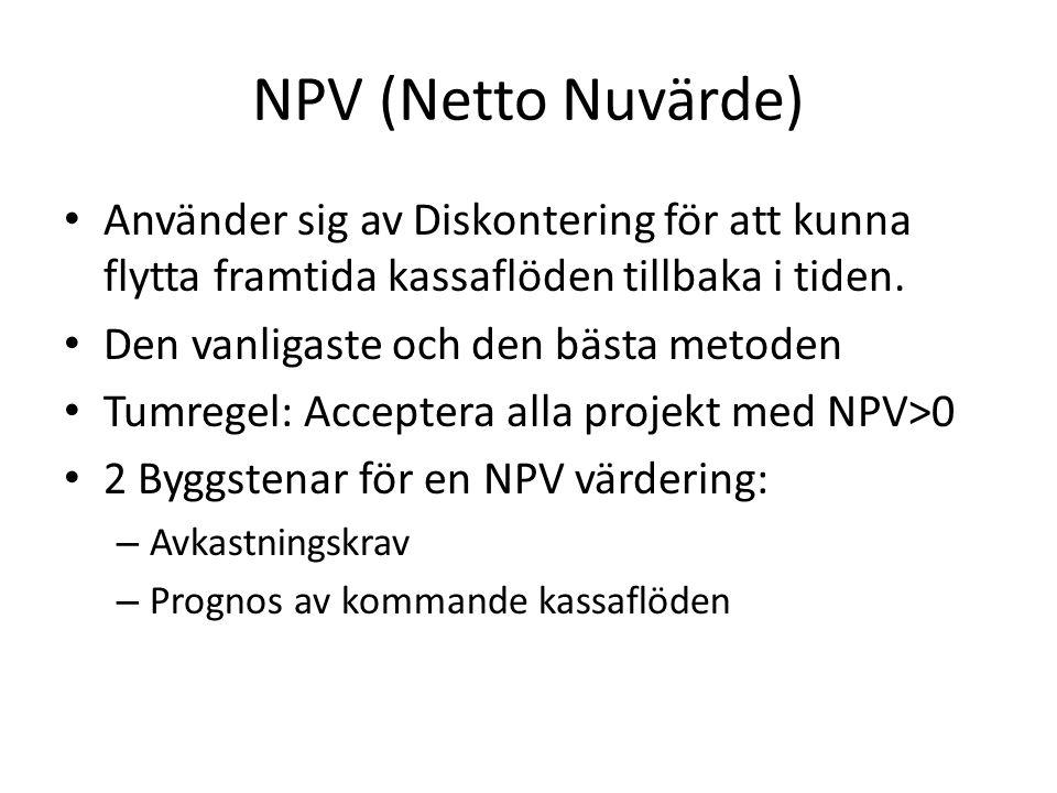 NPV (Netto Nuvärde) Använder sig av Diskontering för att kunna flytta framtida kassaflöden tillbaka i tiden.