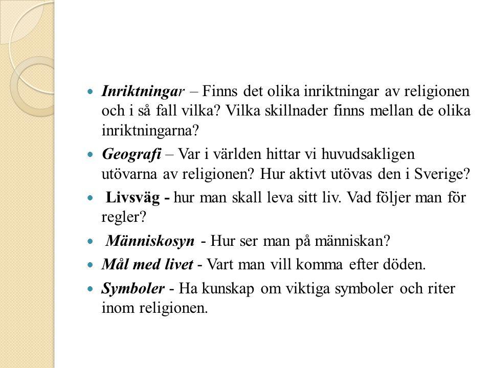 Inriktningar – Finns det olika inriktningar av religionen och i så fall vilka Vilka skillnader finns mellan de olika inriktningarna