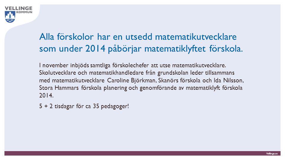 Alla förskolor har en utsedd matematikutvecklare som under 2014 påbörjar matematiklyftet förskola.