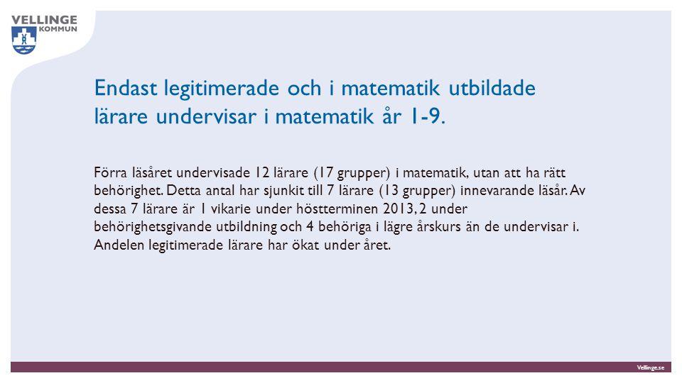 Endast legitimerade och i matematik utbildade lärare undervisar i matematik år 1-9.
