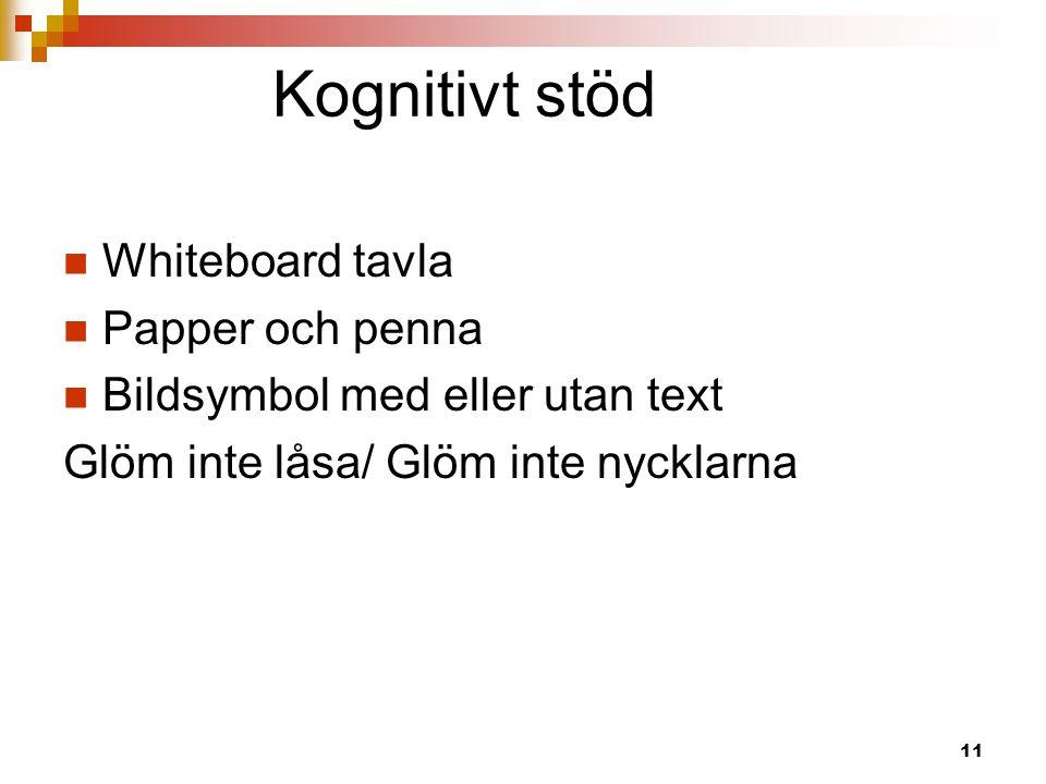 Kognitivt stöd Whiteboard tavla Papper och penna