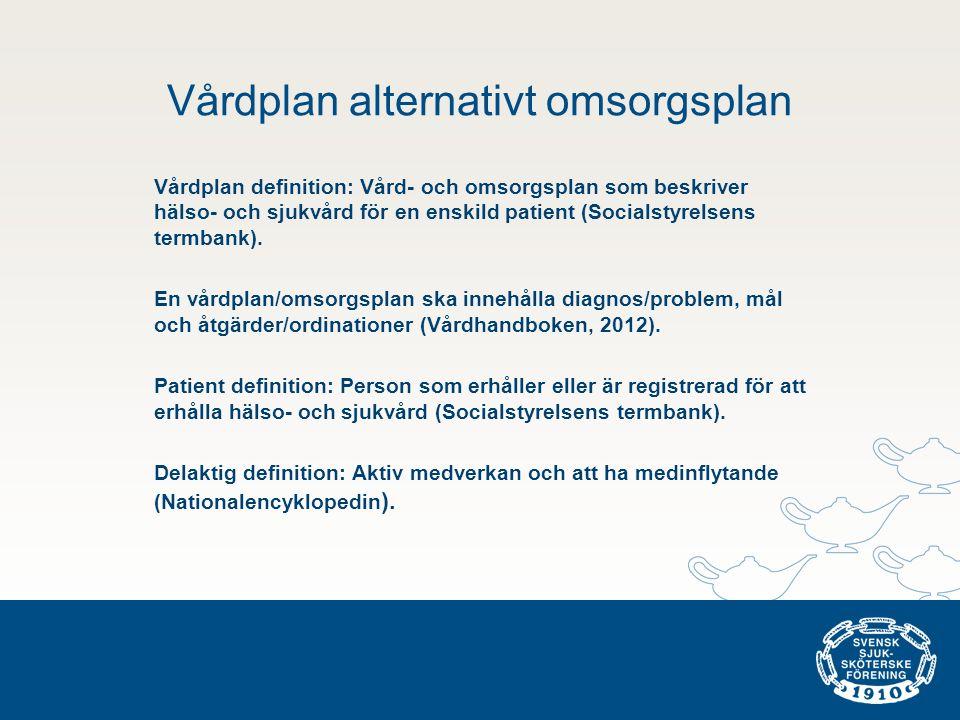 Vårdplan alternativt omsorgsplan