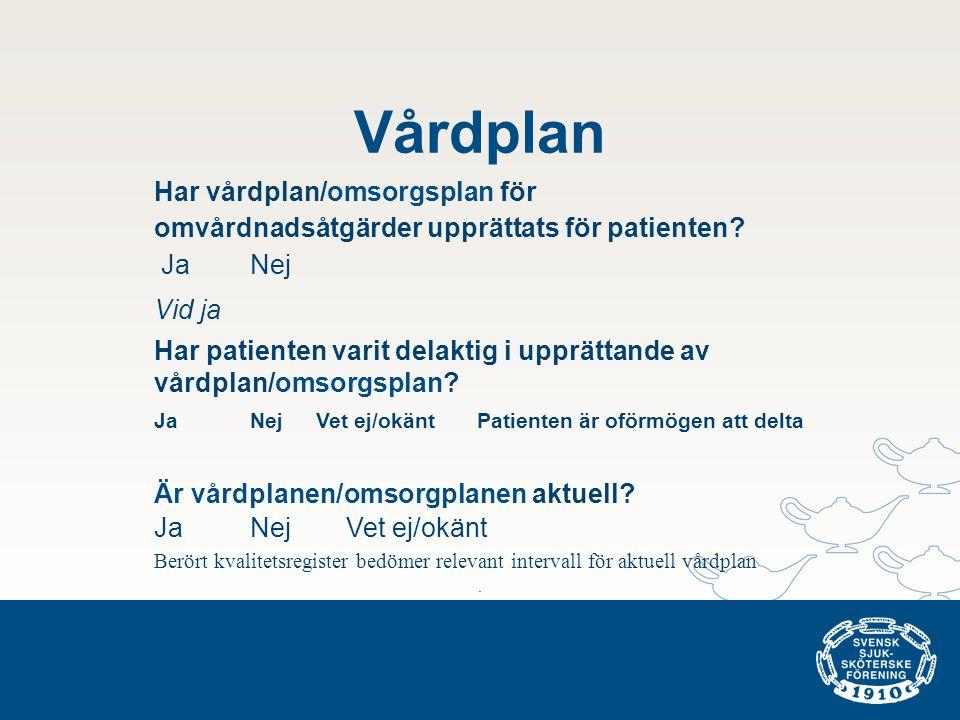 Vårdplan Har vårdplan/omsorgsplan för omvårdnadsåtgärder upprättats för patienten Ja Nej. Vid ja.