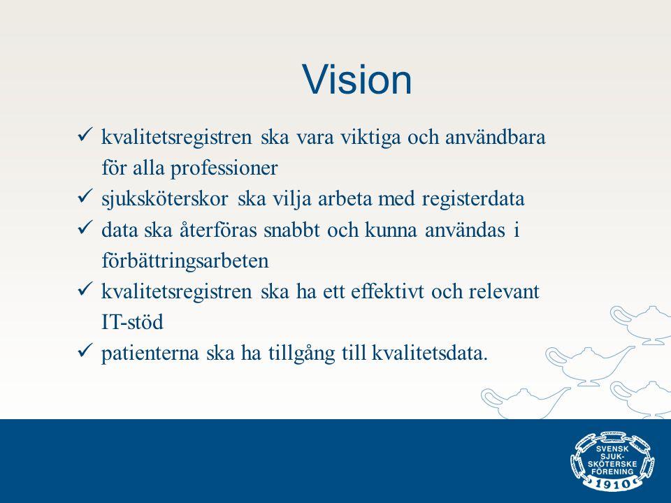 Vision kvalitetsregistren ska vara viktiga och användbara för alla professioner. sjuksköterskor ska vilja arbeta med registerdata.