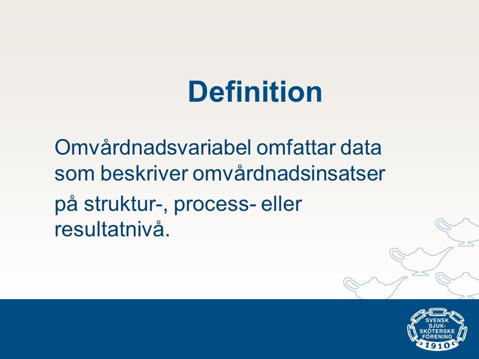 Definition Omvårdnadsvariabel omfattar data som beskriver omvårdnadsinsatser.