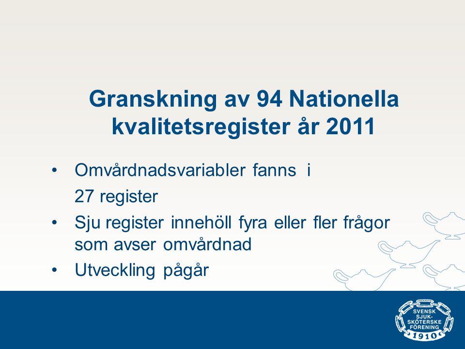 Granskning av 94 Nationella kvalitetsregister år 2011