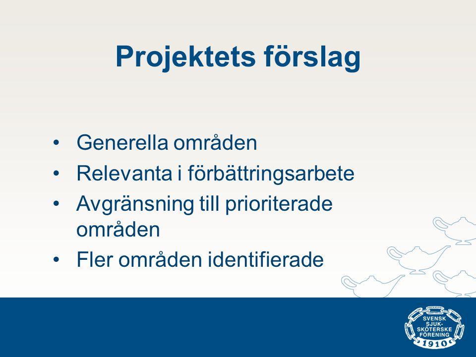 Projektets förslag Generella områden Relevanta i förbättringsarbete
