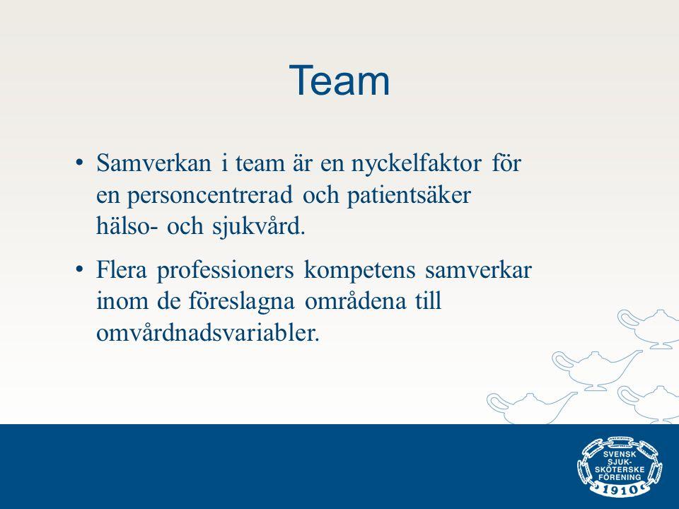 Team Samverkan i team är en nyckelfaktor för en personcentrerad och patientsäker hälso- och sjukvård.