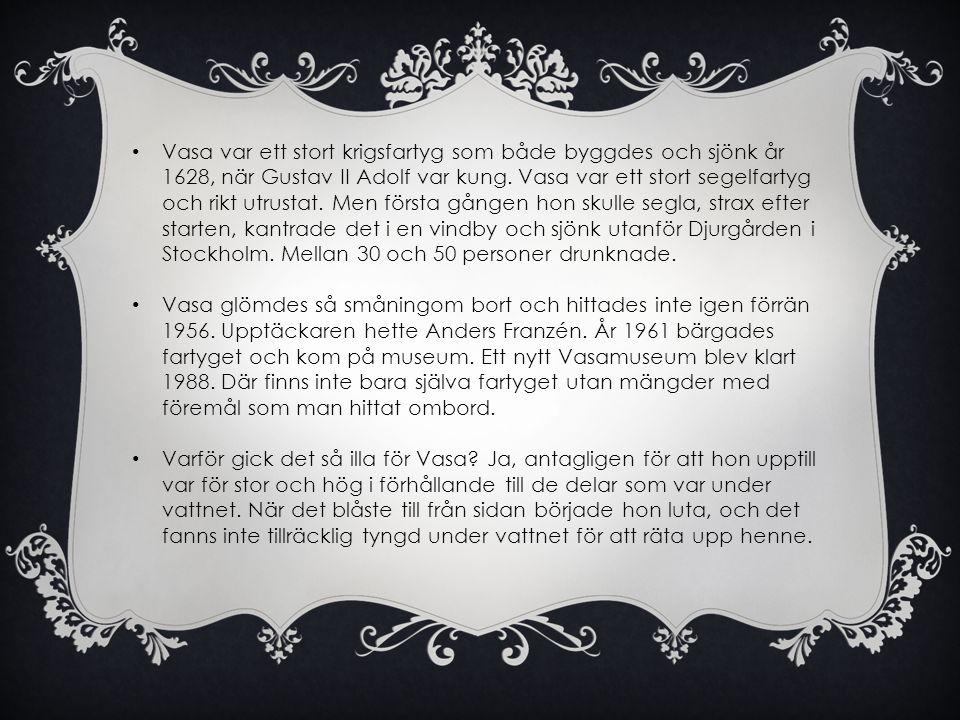 Vasa var ett stort krigsfartyg som både byggdes och sjönk år 1628, när Gustav II Adolf var kung. Vasa var ett stort segelfartyg och rikt utrustat. Men första gången hon skulle segla, strax efter starten, kantrade det i en vindby och sjönk utanför Djurgården i Stockholm. Mellan 30 och 50 personer drunknade.