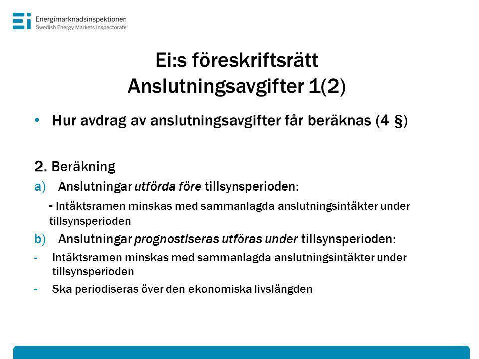 Ei:s föreskriftsrätt Anslutningsavgifter 1(2)