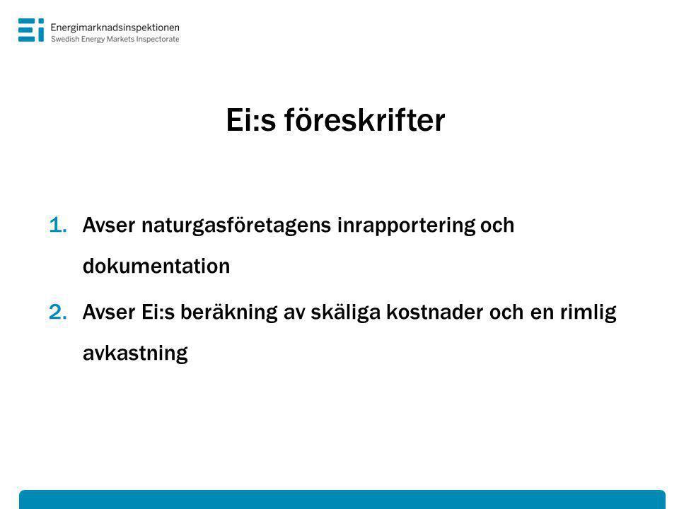 Ei:s föreskrifter Avser naturgasföretagens inrapportering och dokumentation.