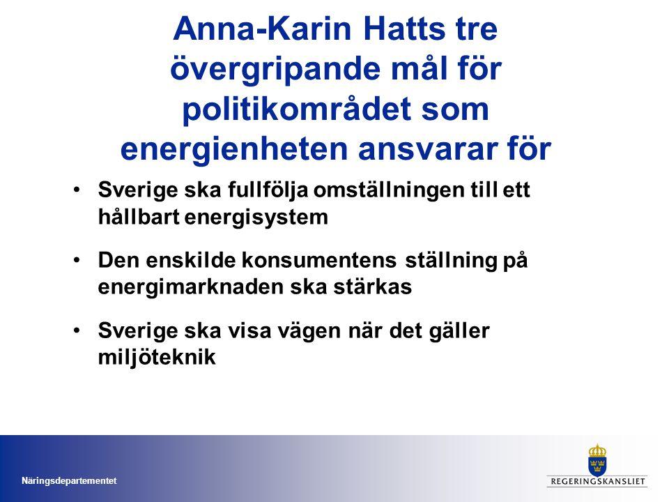 Anna-Karin Hatts tre övergripande mål för politikområdet som energienheten ansvarar för