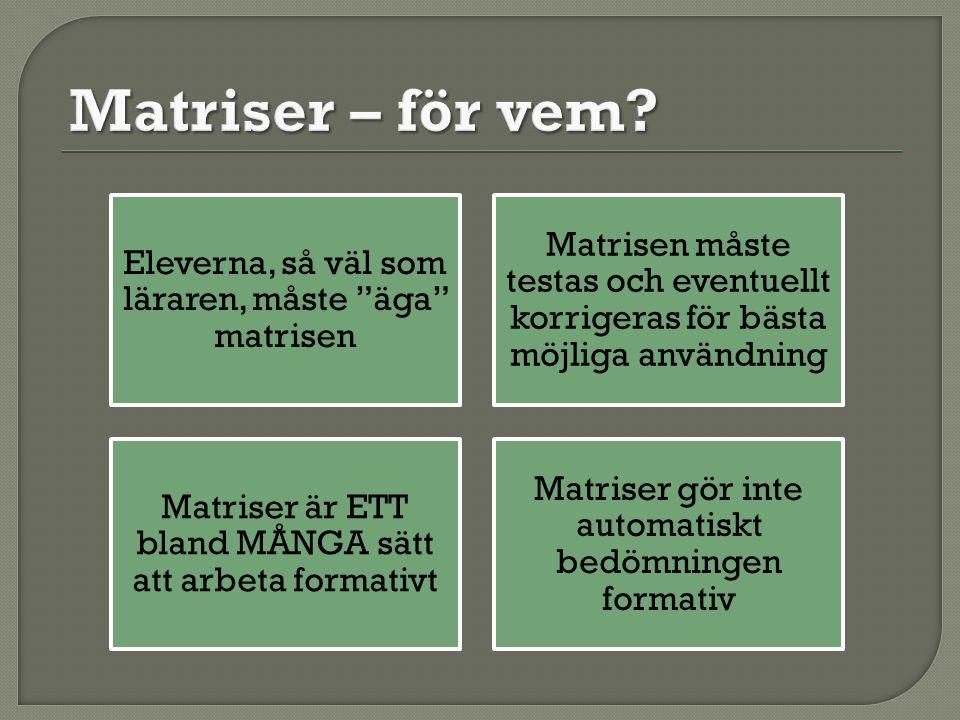 Matriser – för vem Eleverna, så väl som läraren, måste äga matrisen. Matrisen måste testas och eventuellt korrigeras för bästa möjliga användning.