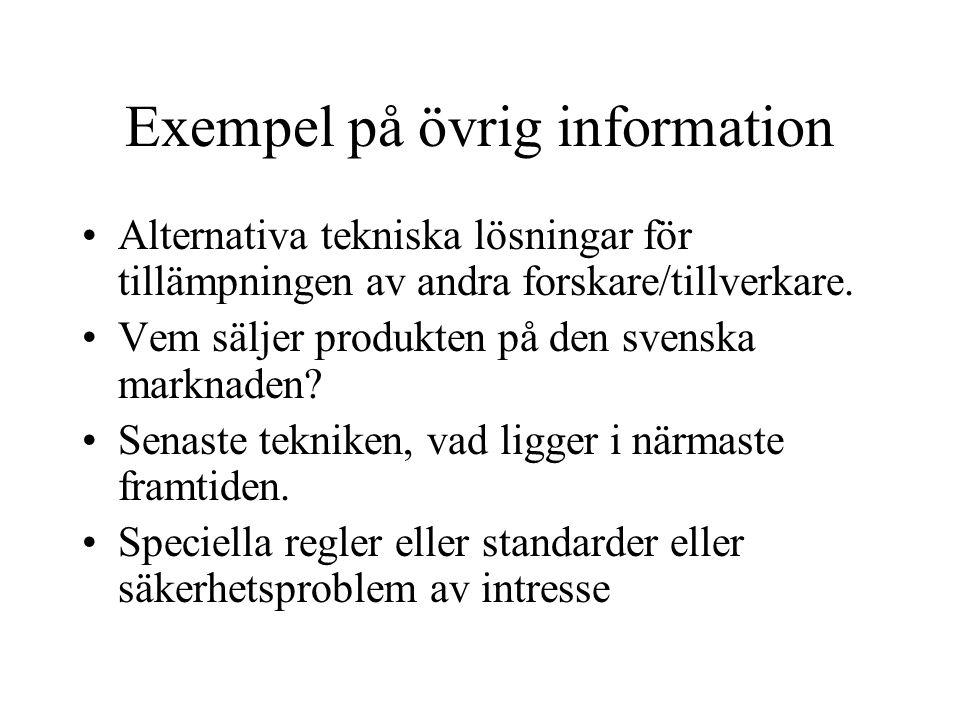 Exempel på övrig information