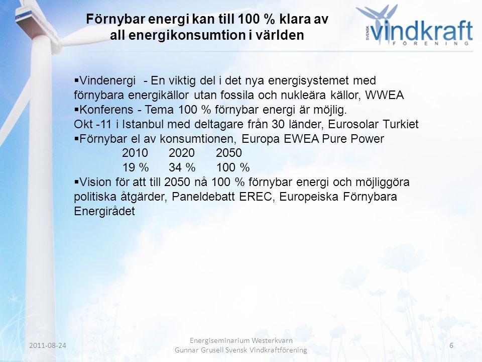 Förnybar energi kan till 100 % klara av all energikonsumtion i världen