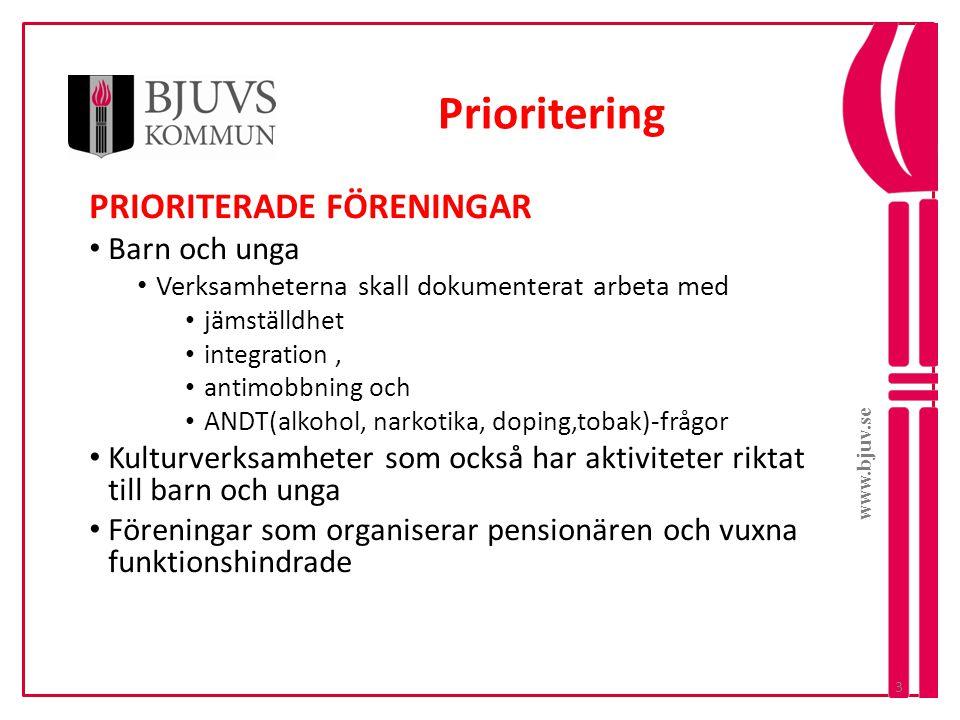 Prioritering PRIORITERADE FÖRENINGAR Barn och unga