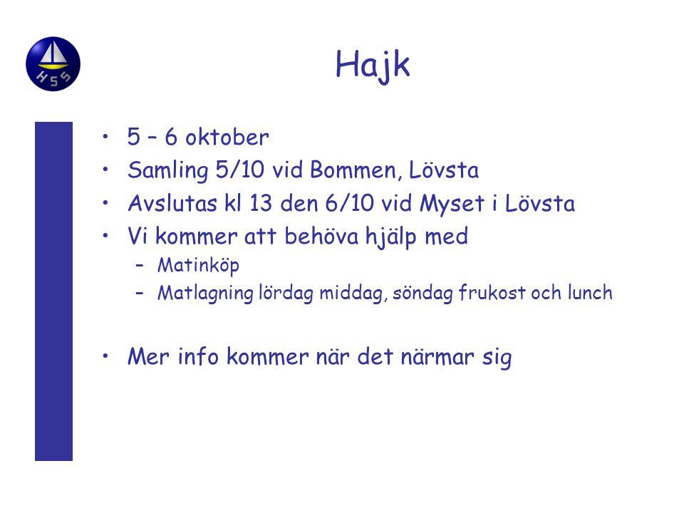 Hajk 5 – 6 oktober Samling 5/10 vid Bommen, Lövsta