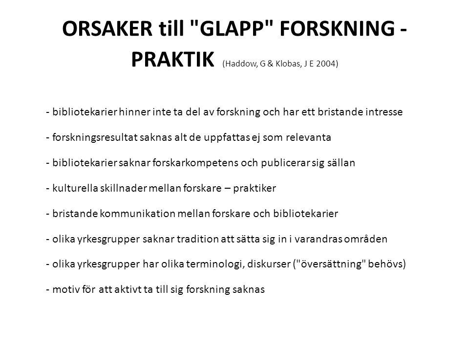 ORSAKER till GLAPP FORSKNING - PRAKTIK (Haddow, G & Klobas, J E 2004)
