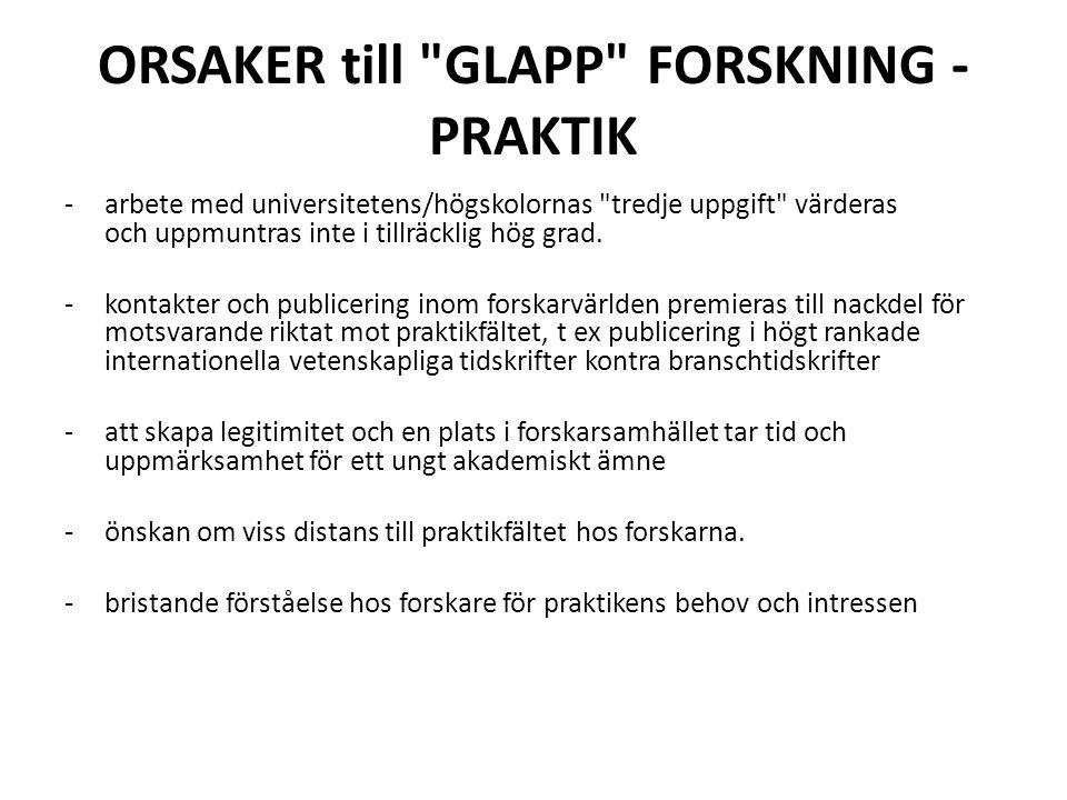 ORSAKER till GLAPP FORSKNING - PRAKTIK