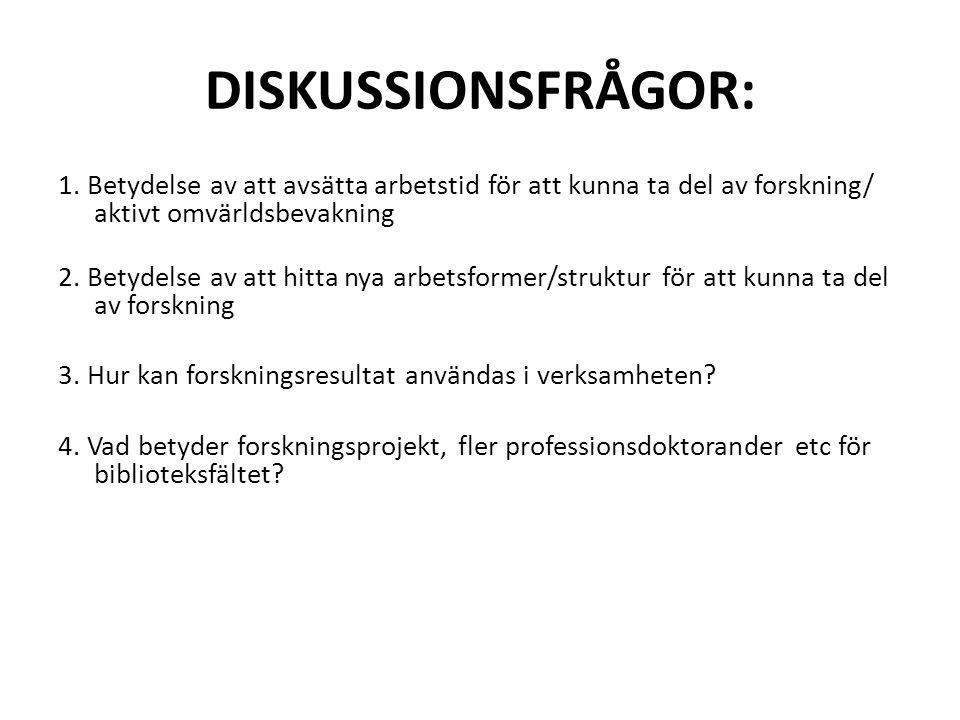 DISKUSSIONSFRÅGOR: