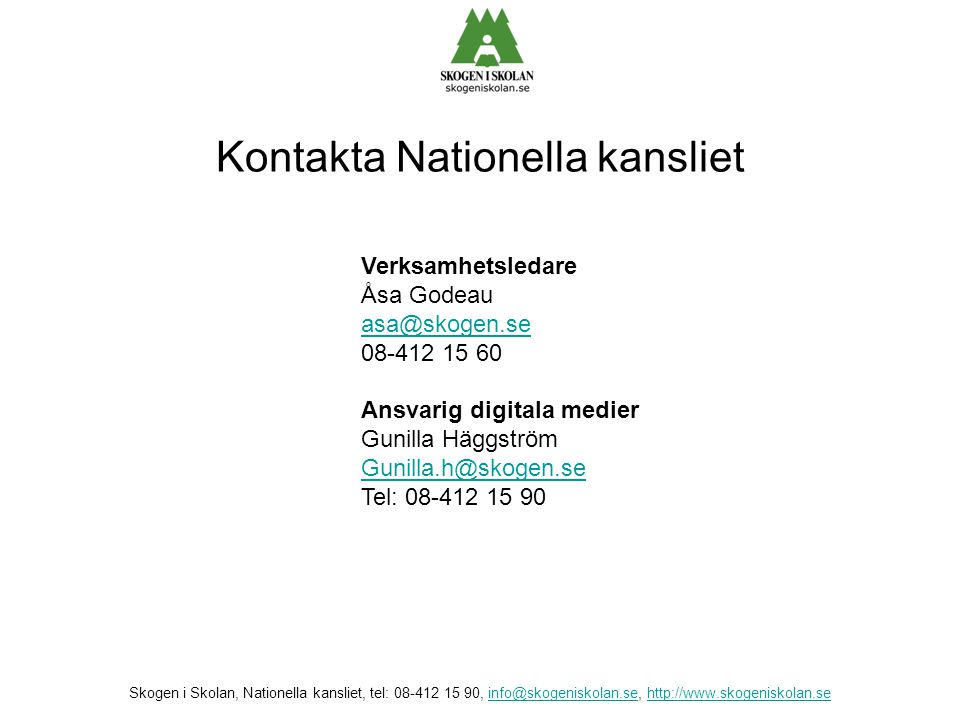 Kontakta Nationella kansliet