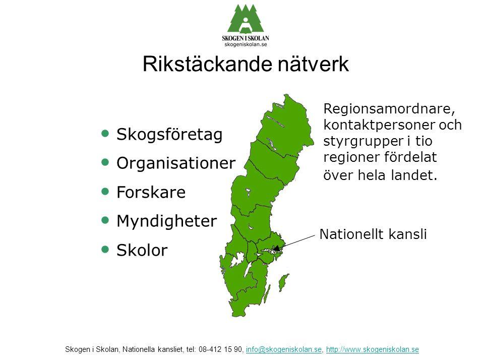 Rikstäckande nätverk Skogsföretag Organisationer Forskare Myndigheter